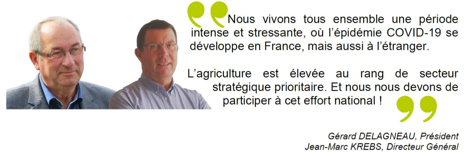 Gérard Delagneau et Jean-Marc Krebs, discours continuité d'activité COVID-19