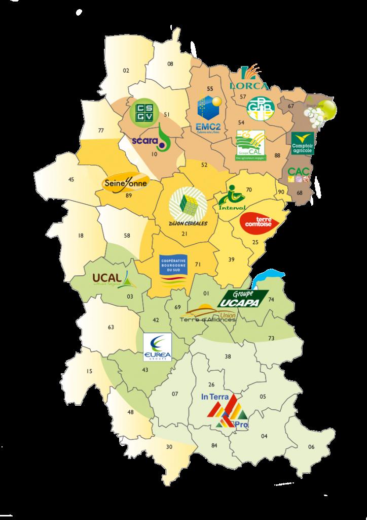 Cartographie secteur et coopératives membres d'AREA
